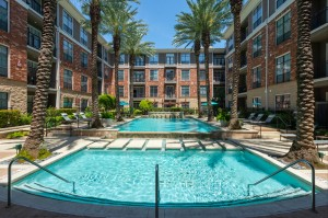 One Bedroom Apartments for Rent in Houston, TX - Full Pool, Patio & Building Exterior View